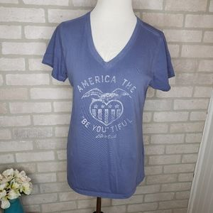 Life is Good Patriotic V Neck T